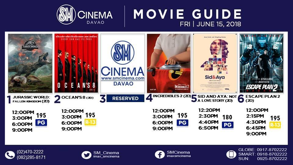 sm city davao cinema movie schedule 2018