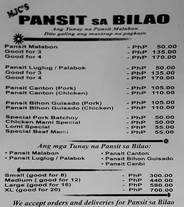 Davao City Directory Online 187 Mjc S Pansit Sa Bilao